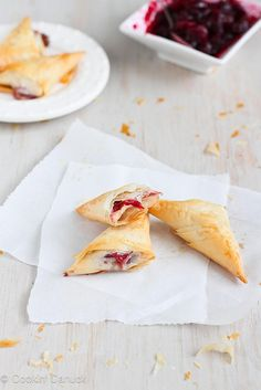 3-Ingredient Brie & Cranberry Phyllo Turnovers #Recipe via cookincanuck.com #appetizer