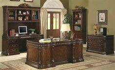 Traditional style home office executive desk available dark Walnut finish with light gold brushed accents. This home office furniture includes desk only, office chair and wall unit available at an additional cost. Home Office Furniture Sets, Home Office Desks, Office Set, Office Ideas, Office Designs, Office Spaces, Office Inspo, Office Table, Small Office
