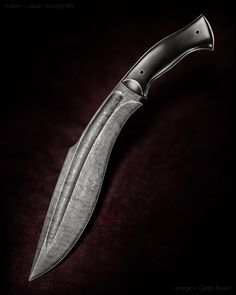 "Jason Knight Damascus Kukri. Black G-10. 11 3/8"" blade. OAL 17""."