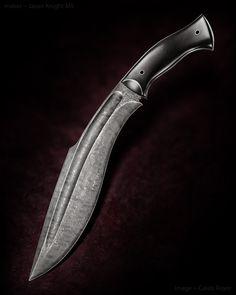 "Jason Knight Damascus Kukri. Black G-10. 11 3/8"" blade. OAL 17""."