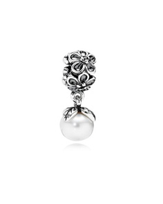 Pandora Silver Forever Bloom Pearl/Black CZ Dangle Charm Available at: www.always-forever.com