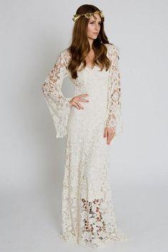 Vintage-Inspired Bohemian Wedding Gown. BELL by Dreamersandlovers