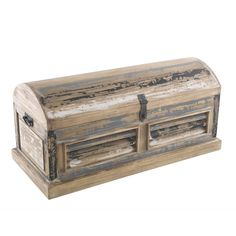 Solid wood storage trunk finished with a distressed painted front in multiple colours. Toy Storage Units, Storage Trunk, Wood Storage, Industrial Furniture, Vintage Industrial, Furniture Decor, Wooden Blanket Box, Affordable Furniture Stores, Trunks And Chests