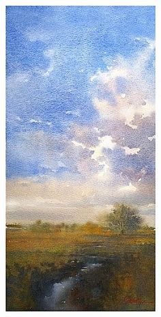 kansas by Thomas  W. Schaller Watercolor ~ 30 inches x 14 inches