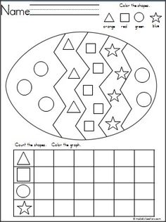 Easter Egg Shapes Graph for practice with shape recognition, coloring, and graphing. {freebie}