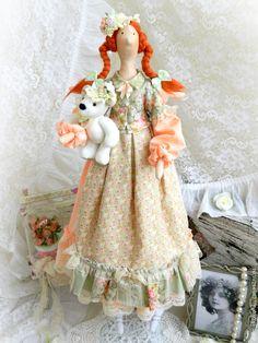 Купить Нюша - девочка с мишкой. Интерьерная кукла в стиле Тильда. - кукла Тильда ☆