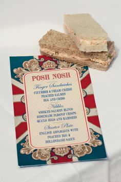 Posh Nosh menu - perfect for a British Themed Parties, Royal Tea Parties, British Party, Royal Party, British Wedding, Royal Theme, British Summer, Egg And Cress, Diy Wedding Food