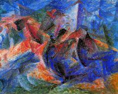 cheval+motard+maisons - (Umberto Boccioni)
