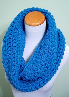 Chunky Cowl Scarf Crochet Loop Neck Warmer Scarf  by Faberie