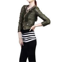 2012 Fall and Winter New Arrivals Army Green Large Size Multi-layer Short Style PU Leather Jacket,Wendybox Faux Leather Jackets, Pu Leather, Army Green, Fall, Winter, Style, Life, Inspiration, Fashion