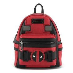 Loungefly X Marvel Deadpool Suit Mini Backpack Red/Black *** Deadpool is a disfigured and mentally unstable mercenary anti-hero, who originally appeared as a villain in X-Men. Deadpool appeared in a series of different comics and then was re-vamped into his own comic. Known for his wisecracks, he's a character you can't help but like. Enjoy this great mini backpack with Deadpool cosplay look on red/black colored PU leather base with dual reinforced padded shoulde