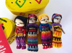 Image detail for -guatemalan worry dolls traditional box with 4 dolls