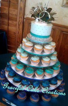 https://flic.kr/p/vsUiiy | Peacock Cupcake Wedding Cake with an Ombre Design