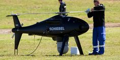 A Schiebel Drone Helicopter that Transpower are using to check the national grid. Photo: Greg Bowker.