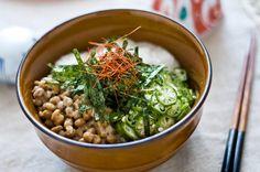 Neba Neba Don (Sticky Sticky Bowl)! (natto, okra, nagaimo, amaranth and rice)