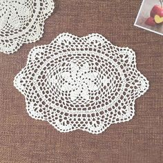 yazi Handmade Cotton Hollow Floral Oval Placemat Doily Pads Crochet Table Mat Table Cover Tablecloths Home Decor Crochet Table Mat, Crochet Mat, Crochet Rug Patterns, Hand Crochet, Doily Patterns, Free Crochet, Lace Doilies, Crochet Doilies, Paper Serviettes