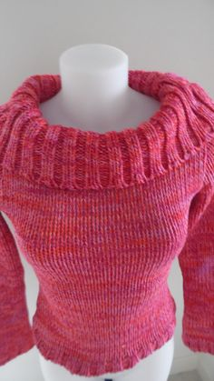 Pull coton épais chiné rose et oranger : Pulls, gilets par annbcreation