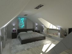 Cozy small attic bedroom design and decorating ideas. Small Attic Bedroom - When space is limited, it make the most of the small house owners confused when trying to add more bedroom in Small Loft Bedroom, Attic Bedroom Storage, Attic Master Bedroom, Attic Bedroom Designs, Attic Loft, Attic Design, Loft Room, Attic Bathroom, Attic Office