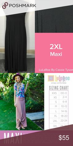 Solid Black Maxi Skirt Beautiful maxi skirt. Solid black! Definitely on someone's unicorn list! See second pic for sizing. New with tag! Always looking for fresh people to host parties to earn free LuLa! LuLaRoe Skirts Maxi