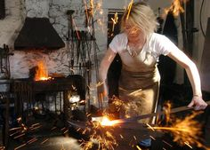 Annabelle at work in the Smithy