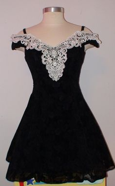 Vintage 80's/90's Black Floral Formal/Prom Dress by LolidollDiy, $29.00