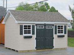 """Garden Sheds Vinyl 103 8x8' garden shed. made with 2x4"""" wall studs and rafters 24"""" o"""