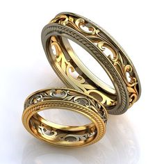 Vintage style Wedding Rings, Wedding Ring set, 14K yellow and white gold, Unique rings, Promise rings his and hers, Filigree wedding rings