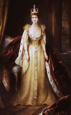 "Queen Alexandra ""Alix"" (Alexandra Caroline Marie Charlotte Louise Julia) (1844-1925) Denmark wearing her gold coronation gown by Edward Hughes. She is the wife of wife of King Edward VII (Albert Edward ""Bertie"") (1841-1910) Prince of Wales, UK. Alix was 2nd Child of King Christian IX (1818-1906) Denmark & Princess Louise (1817-1898) Hesse-Kassel, Germany."
