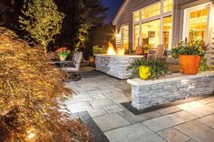 Rivenstone Paver Patio with Rivercrest Wall- Unilock Wall?