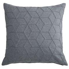 Coussin graphique en coton gris ...