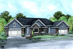 Multi-Family Plan 68715 | Ranch Traditional Plan with 3055 Sq. Ft., 4 Bedrooms, 4 Bathrooms, 2 Car Garage