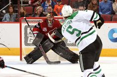 GLENDALE, AZ - DECEMBER 27: Mike Smith #41 of the Arizona Coyotes gets ready to make a save on a shot by Jamie Oleksiak #5 of the Dallas Stars at Gila River Arena on December 27, 2016 in Glendale, Arizona. (Photo by Norm Hall/NHLI via Getty Images)