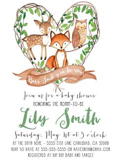 Woodland Invitation Fox Boy Baby Shower by KirraReynaDesigns
