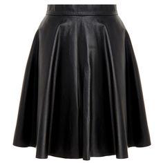 Muubaa Kahawa Black Leather Flare Skirt ($140) ❤ liked on Polyvore featuring skirts, black, black knee length skirt, circle skirt, muubaa, black skirt and leather flare skirt