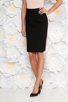 StarShinerS black office skirt straight high waisted slightly elastic fabric with inside lining, tented cut, back zipper fastening, inside lining, slightly elastic fabric, soft fabric