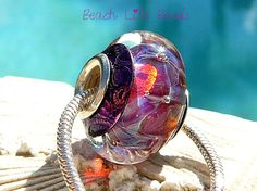 FUSHIA OPAL CAPPED Handmade Lampwork Bead with by beachlifebeads, $29.00