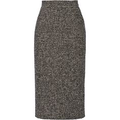 Pedro del Hierro Madrid Wool-blend tweed pencil skirt (28,280 INR) ❤ liked on Polyvore featuring skirts, black, mid calf black skirt, tweed skirt, wool blend skirt, pedro del hierro e black tweed skirt