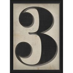 Number Three Framed Textual Art
