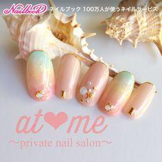gel summer nails that look stunning. Pastel Nails, Purple Nails, Trendy Nails, Cute Nails, Sunflower Nail Art, Cherry Blossom Nails, Galaxy Nail Art, Kawaii Nails, Nail Candy