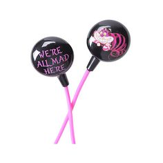Disney Alice In Wonderland We're All Mad Here Earbuds Hot Topic (12 CAD) ❤ liked on Polyvore featuring accessories and disney