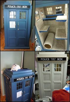 Cats Toys Ideas - How To Build A Half Scale Tardis Cat Fort theownerbuilderne. It probably doesn't get any better than this if you're a Dr. Who fan with a cat. What cat wouldn't love this tardis to play in? - Ideal toys for small cats The Tardis, Diy Möbelprojekte, Cat Towers, Ideal Toys, Cat Playground, Cat Room, Cat Condo, Pet Furniture, Small Cat