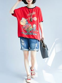 df6f36e72cf04f US$35.03 61% Plus Size Casual Cartoon Batwing Sleeves T-shirts Women's  Clothing from Clothing and Apparel on banggood.com