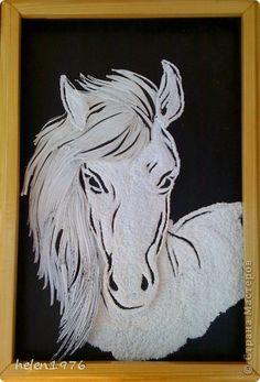 Картина, панно Квиллинг: Белая Лошадь Бумажные полосы. Фото 1