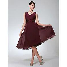 una línea de cuello en V vestido de dama de honor / de la boda de gasa hasta la rodilla sin mangas - USD $ 59.19