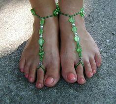 Green beaded barefoot sandals