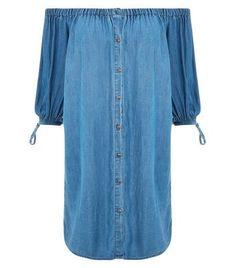 Prezzi e Sconti: #Blue bardot neck denim dress  ad Euro 15.00 in #New look #Womens clothing dresses