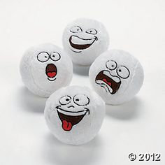 Plush Funny Face Snowballs for a safe snowball fight! Indoor Snowballs, Rock Painting Patterns, Snowball Fight, Novelty Toys, Felt Ball, Winter Fun, Winter Theme, Oriental Trading, Plush Animals