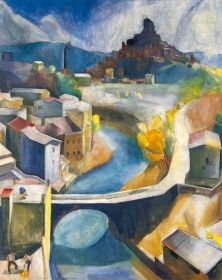 Patkó Károly - Subiaco, 1930 Cubism Art, Painter Artist, Landscape Paintings, Landscapes, Candyland, Eastern Europe, House Painting, Art Nature, Autumn