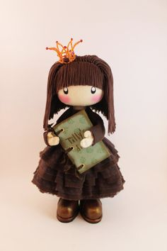 Awesome Etsy listing at https://www.etsy.com/pt/listing/236347620/doll-princess-tilly-brown-rag-doll-cloth