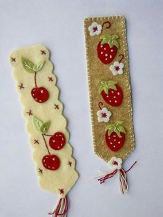 Marque-pages fruités - Ma Boutique Modes Diy Crafts To Do, Felt Crafts, Arts And Crafts, Diy Bookmarks, Cross Stitch Bookmarks, Felt Bookmark, Crafts For Seniors, Book Markers, Sewing Projects For Kids